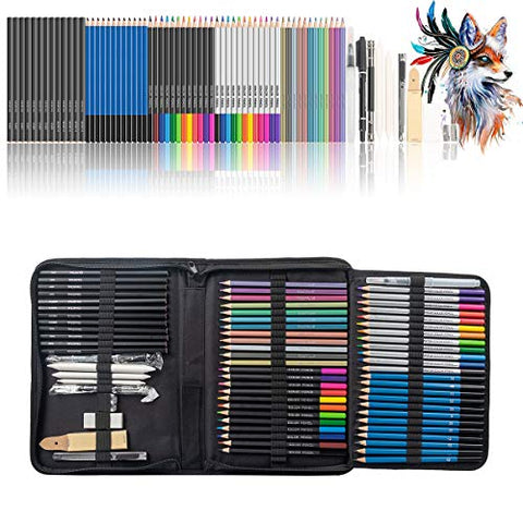 Wellwerks art supplies, 71 pack drawing pencils set, Portable Professional Sketch Kit, Include Colored, Graphite, Charcoal, Watercolor, and Metallic Color Pencils for Kids, Adults, Artists