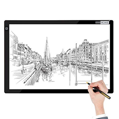 VIVOHOME A3 LED Light Box Board Tracing Light Pad with 3 Brightness for Artist Sketching Drawing Craft