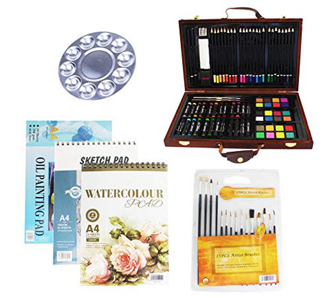 S & E TEACHER'S EDITION 100 Pcs Deluxe Art Supplies Set in Wooden Case, Come with Additional Brush & Paper Pad.