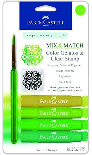 Faber-Castell Mix & Match Gelatos Stick W/Clear Stamp 4/Pkg Green by Faber-Castell USA, Inc.