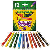 Crayola 684112 Short Barrel Colored Woodcase Pencils, 3.3 mm, 12 Assorted Colors/Set