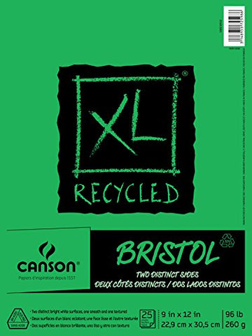 Canson XL Series Recycled Bristol Paper Pad, Dual Sided Smooth and Vellum for Pencil, Marker or