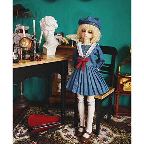 HMANE BJD Clothes 1/6, Navy Style Denim Dress with Hat for 1/6 BJD Dolls (No Doll)