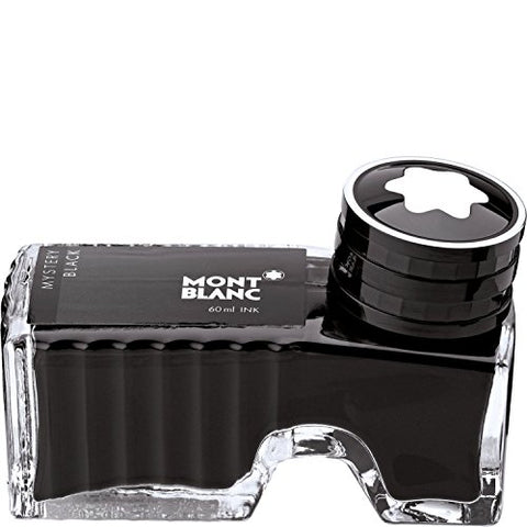 Montblanc Ink Bottle Mystery Black 105190 – Premium-Quality Refill Ink in Black for Fountain Pens, Quills, and Calligraphy Pens – 60ml Inkwell