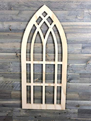 Arched frame window unfinished