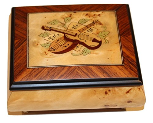 Birdseye Maple Matte finish Instrument Design Italian inlaid musical jewelry box with