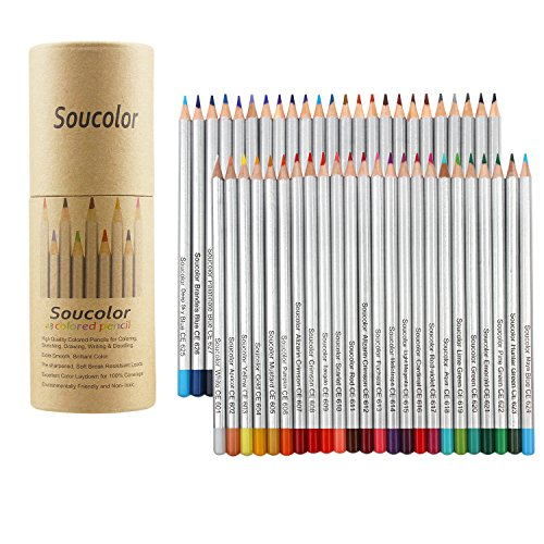 Soucolor 48-color Colored Pencils, Soft Core, Art Coloring Drawing Pencils for Adult Coloring Book,