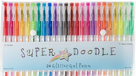 Super Doodle - Glitter Gel Pens - 24 Glitter Colors - Premium Quality Gel Pen Set for Crafting,