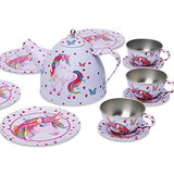 Lucy Locket Magical Unicorn Kids Tin Tea Set & Carry Case (14 Piece Tea Set for Kids)