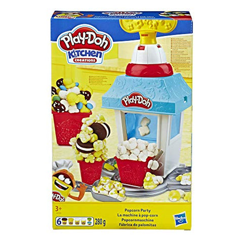 Play-Doh Kitchen Creations Popcorn Party Play Food Set with Six Non-Toxic Pots Yellow