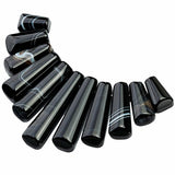 TUMBEELLUWA Craft Beads for Jewelry Making,Top Drilled Stone Loose Beads,11Pcs/Set, Black Striped