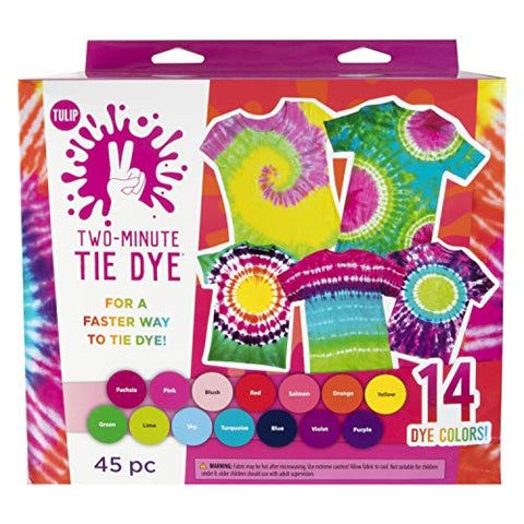 Tulip One-Step Tie-Dye Kit 44333 Tulip Two-Minute Kit, Fast & Easy Tie Dye, Fast Crafts, Party Supplies, 14 Bright Colors