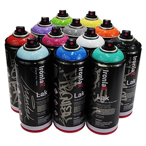 Ironlak 400ml Popular Colors Set of 12 Graffiti Street Art Mural Spray Paint