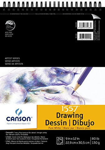 Canson Artist Series 1557 Pure White Drawing Paper Pad, Fine Texture, Top Wire Bound, 80 Pound, 9 x