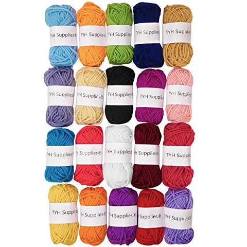TYH Supplies 20 Skeins Yarn Assorted Colors 100% Acrylic for Crochet & Knitting Multi Pack