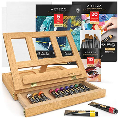Arteza Tabletop Easel Art Set, Acrylic Painting Set Includes Desktop Easel, Acrylic Paint, Acrylic Brushes, Palette Paper, Canvas Pads & Panels, Art Supplies for Beginners and Professional Artists