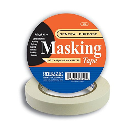 "BAZIC 0.71"" X 2160"" (60 Yards) General Purpose Masking Tape, Case Pack 36"