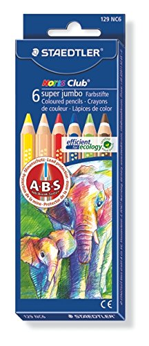 Staedtler Noris Club Super Jumbo Coloured Pencil - Assorted (Pack of 6)