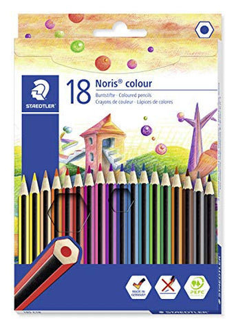 STAEDTLER 185 C18 Noris Colouring Pencil, Assorted Colours, Pack of 18