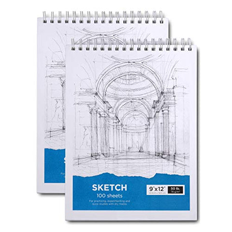 "Sketch Book, 9x12"" Artist Sketchbook, 2 Pack 200 Sheets - Durable 50 Lbs/78 GSM Acid Free Drawing Paper - Top Spiral Bound Sketch Paper - for Kids & Adults"