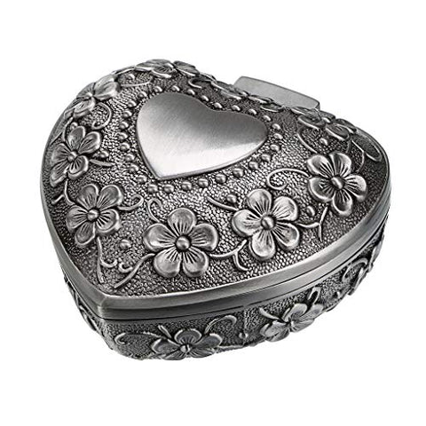 Hipiwe Vintage Heart Shape Jewelry Box - Small Antique Ring/Earrings/Necklace Storage Organizer Case, Metal Treasure Chest Trinket Keepsake Gift Box for Women and Girls