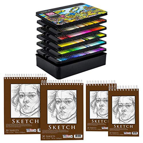 "U.S. Art Supply 150 Colored Pencil Mega Set Bundle with 9"" x 12"" & 5.5"" x 8.5"" Premium Heavy Weight Spiral Paper Sketch Pads"