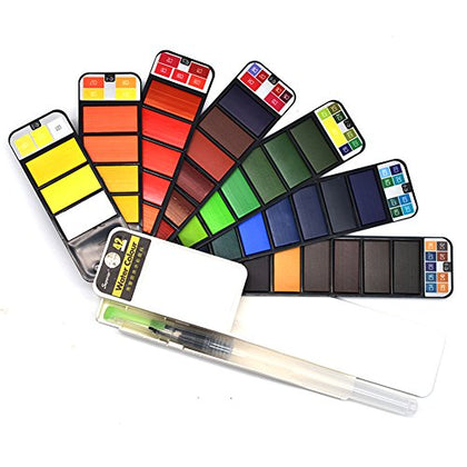 Watercolor Paint Set - 42 Assorted Colors - Watercolors Kits Includes 1 Water Brush - Perfect for