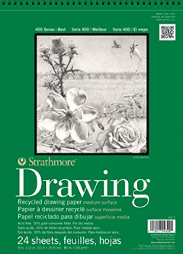 Strathmore 18-Inch by 24-Inch Drawing Premium Recycled Paper Pad, 24-Sheet