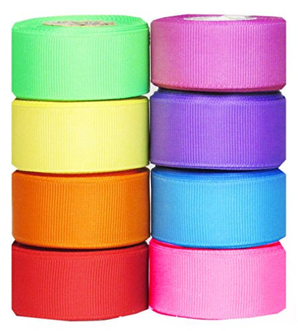 "Ribbons for Crafts-Hipgirl 40 Yard 7/8"" Holiday Grosgrain Fabric Ribbon Set For Gift Package"