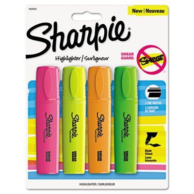 Sharpie - Sharpie Blade Highlighter, Chisel Tip, 4-Color/ST, Assorted, Sold as 1 Package, SAN