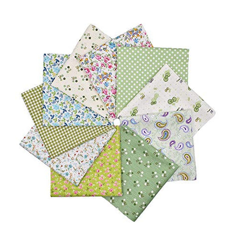 RayLineDo 10pcs 16 x 16 inches (40cmx40cm) Print Cotton Green Series Fabric Bundle Squares Patchwork DIY Sewing Scrapbooking Quilting Pattern Artcraft