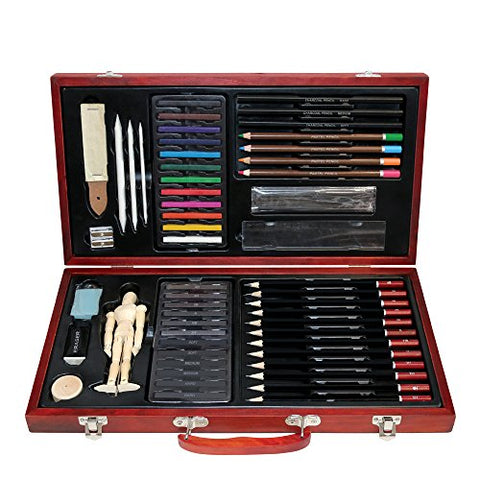 Professional Art Kit Drawing and Sketching Set 58-Piece Colored Pencils, Art Kit for Kids, Teens and Adults/Gift by LUCKY CROWN Wooden Box Set