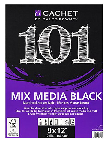 Daler-Rowney Cachet 101 Mix Media Black Pads 9 in. x 12 in. 30 sheets [PACK OF 3 ]