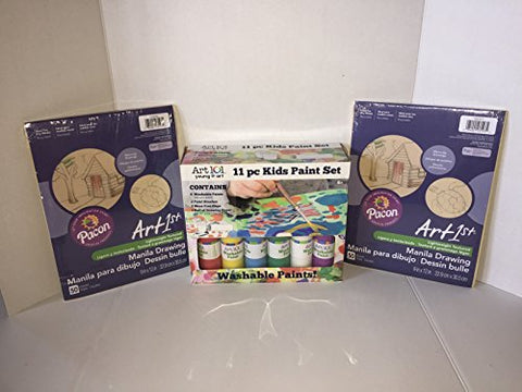 ART 101 (13 Piece Bundle) Includes: 6 washable Paints.2 Paint Brashes. 2Mess Free Cups.1 Roll of