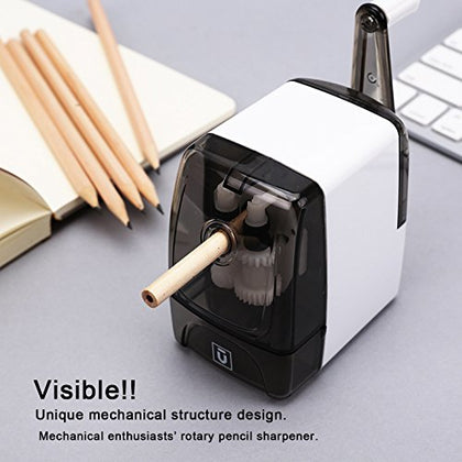 M&G Manual Rotary Pencil Sharpener with Automatic Helical blade, Hand Crank with Long Hole, Sharp