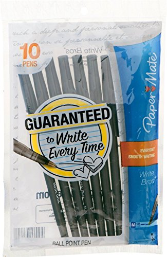 Papermate Stick Pens Medium Black Pack 10 (PACK OF 3)
