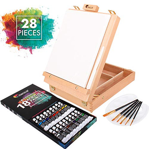 Painting Sets for Adults with Canvas, 18 Tubes of Acrylic Paint, 6 Paint Brushes for Artists - One 9.5 x 11.8 in Canvas Boards for Painting, Free Spatula and Palette Included - Painting Set for Kids