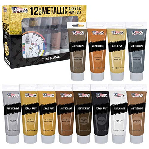 U.S. Art Supply Professional 12 Color Set of Metallic Acrylic Paint, Large 75ml Tubes - Rich Vivid Pearl Colors for Artists, Students, Beginners - Canvas, Portrait Paintings, Wood - Color Mixing Wheel