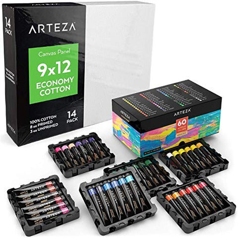 "ARTEZA Bundle: 9x12"" Bulk Pack of 100% Economy Cotton Canvas Panels, Set of 14 + Acrylic Paint, 22 ml Tubes, Set of 60 Assorted Colors, Ideal for High Volume Users, Art Classes, and Practice Studies"