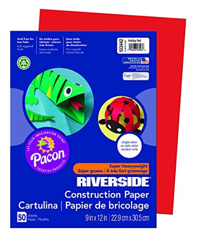 "Riverside 3D Construction Paper, Holiday Red, 9"" x 12"", 50 Sheets"