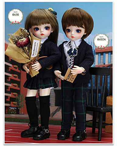 UCanaan BJD Doll 1/6 SD Dolls 12 Inch 18 Ball Jointed Doll DIY Toys with Full Set Clothes Shoes Wig Makeup, Best Gift for Girls-Anshen and Anya School Style Set