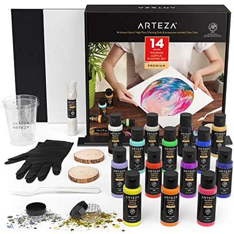Arteza Acrylic Pouring Paint Set Includes 14 Pouring Acrylic Colors, 2 Wood Slices, 2 Measuring Cups, Gold & Silver Holographic Glitter Jars, Canvas, Gloves, & Palette Knife, Art Supplies for Pouring