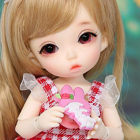 GHDE& 1/8 Girl BJD Doll SD Doll 15.5 cm 6 inches Movable Joint Hair Accessories Makeup Gift Collection Christmas Decoration Fashion Handmade Doll Pukifee Nanuri,White Skin
