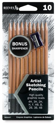 Reeves Sketching Pencils Set of 10 Assorted Grades 4H to 4B with Sharpener