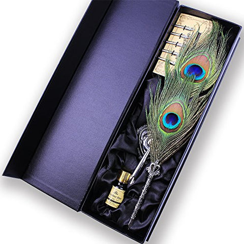 Featty - Antique Peacock Feather Metal Nibbed Pen Writing Quill Dip Pen Gift