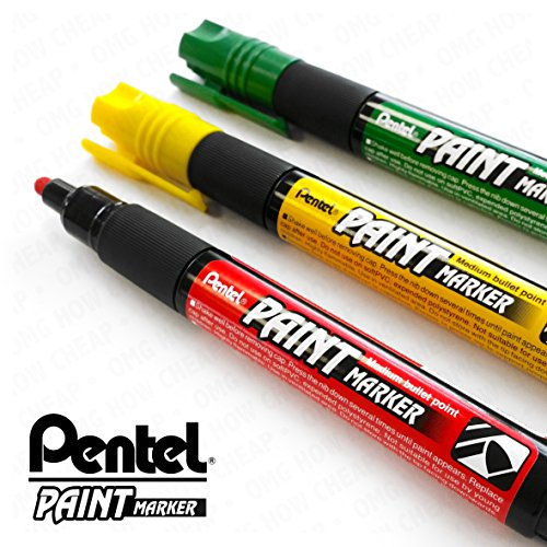 Pentel Cellulose Paint Marker - Medium Bullet Tip - MMP20 - 3 Pen Set - Red, Yellow, and Green