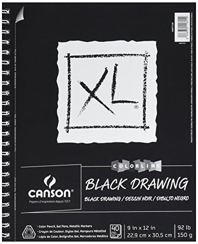 Canson XL Series Black Drawing Paper for Pencil, Acrylic Marker, Opaque Inks, Gouache and