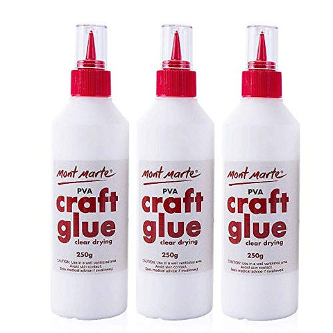 Mont Marte PVA Glue Craft Glue, Fine Tip 250g-3 Pack
