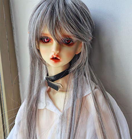 Olaffi BJD Male Doll with Fake Men's Gods Gray Wig 8-9 Inch 1/3 BJD SD Doll Long Kinky Doll Hair with Middle Parting SD BJD Doll Wig