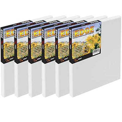 "The Edge All Media Cotton Deluxe Stretched Canvas - Paintable Edges for Frameless Artwork Presentation, Superior Priming for Richness and Purity of Paint Colors - Box of 6 - [11/16"" Deep 
